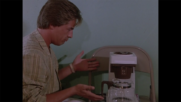 Using magazines to steady the coffee maker, nice