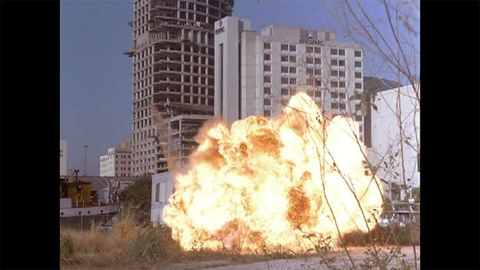 This is one of those explosions where they got to explode a real thing and film it for a bit
