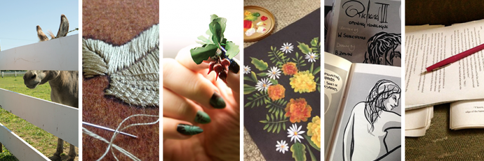 Long, split image showing examples of photography (humorous image of donkey), embroidery (medieval stitch technique of a LOTR leaf), sculpting (manicured nails holding VERY TINY BEETS), painting (vibrant one-stroke painted flowers on black), comics (sliver of minicomic held open), writing (pile of a printed out draft, mid-edit)