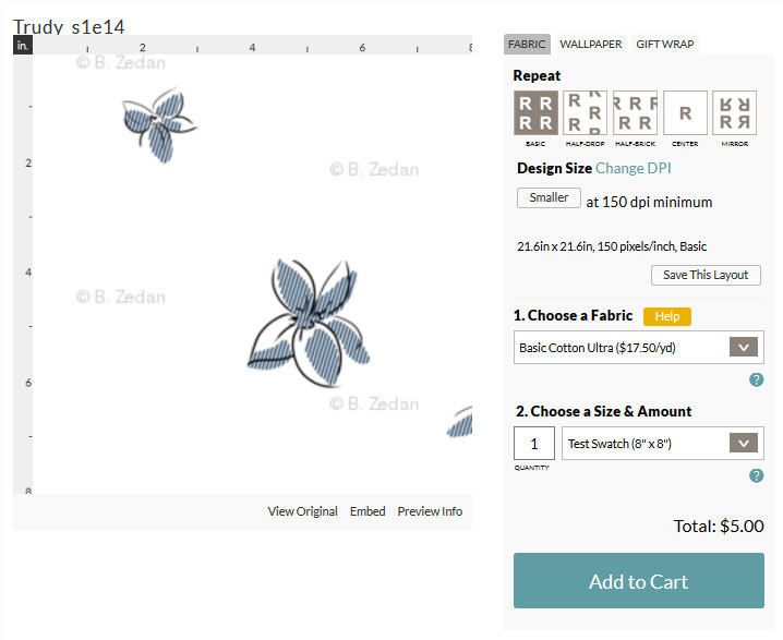 Screencap of individual Spoonflower design page, showing an 8 inch by 8 inch test swatch. Only part of the design can be seen.