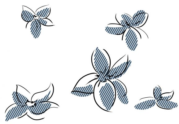 Black, gestural lines of flowers, with a faux screentone pattern of wide blue lines beneath, slightly off-key from the lines and creating a loose impression of form.