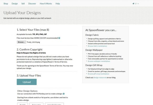 Screencap of Spoonflower upload page, showing file uploaded and ownership of image agreement checked.