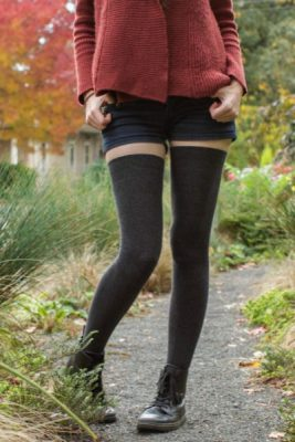 Image of a model in dark grey thigh highs that almost reach to the short-shorts they're wearing.