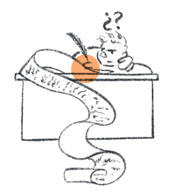 Simple illustration of person sitting at desk, writing with a quill on a very long scroll.