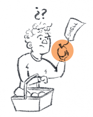 "Simple illustration of person holding an object labelled ""smell"", they look dubious"