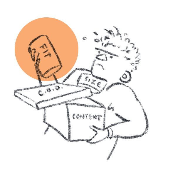 Simple illustration of a person with their arms full of objects labelled: Fit, Size, C.O.O. and Content