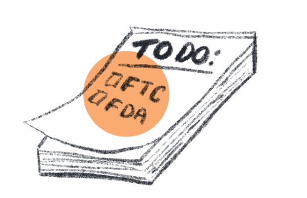 "Simple illustration of a to-do pad with ""FTC"" and ""FDA"" written on it."