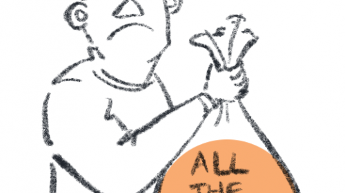 "Simple illustration of a person holding a garbage bag labelled ""All the keywords"""