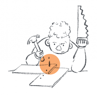 Simple illustration of a person with a hammer and a saw in hand, trying to assemble something
