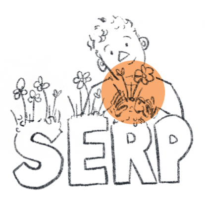 "Person planting flowers on giant letters spelling ""SERP"""
