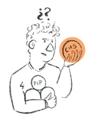 "Person holding an armful of balls, looking at one in their hand quizically. The balls are labelled ""CMS"" and ""PIP"""