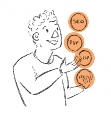 "A person is juggling four balls, three are labelled ""SEO"", ""PIP"" and ""CMS"""