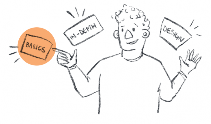 "Simple illustration of person with three objects around them, labelled ""basics"", ""in depth"" and ""design"""