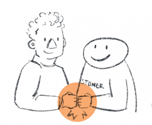 "Simple illustration of a person shaking hands with a smiley-faced being labelled ""customer"""