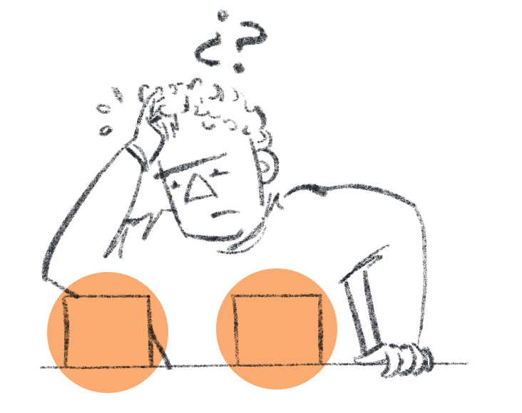 Simple illustration of a person puzzling over two objects that look the same.