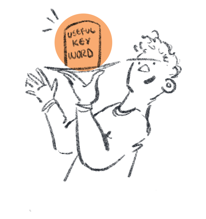 """Simple illustration of a person holding an object up on a tray, labelled """"Useful Keyword"""""""