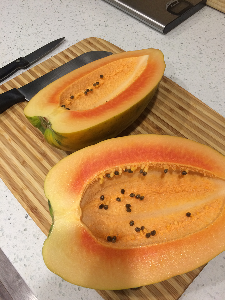 A smaller papaya, cut in half, showing only a bare handful of seeds