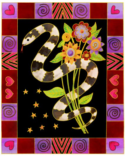 An illustration in Laurel Burch style of a snake and flowers.